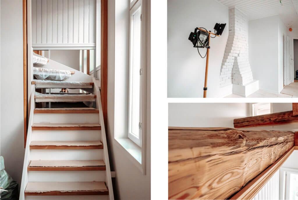 vanhan puutalon entisöinti, yläkerran remontoiminen asuinkelvolliseksi, asuinkäyttöön